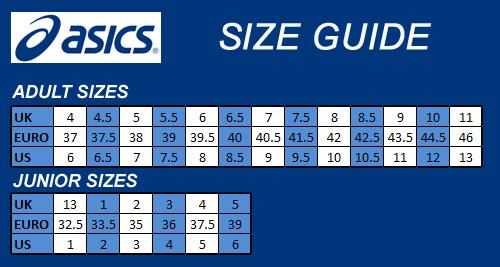 Asics Junior Shoe Size Chart